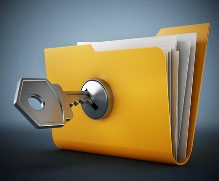 Key on locked yellow folder. 3D illustration.