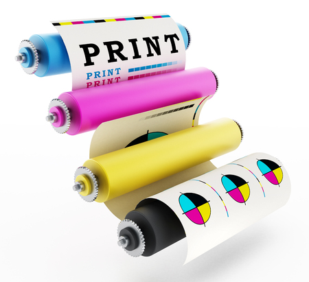 CMYK Printing press with test print. 3D illustration. Archivio Fotografico