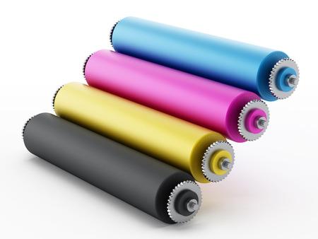CMYK Printing press with test print. 3D illustration. Stock Photo