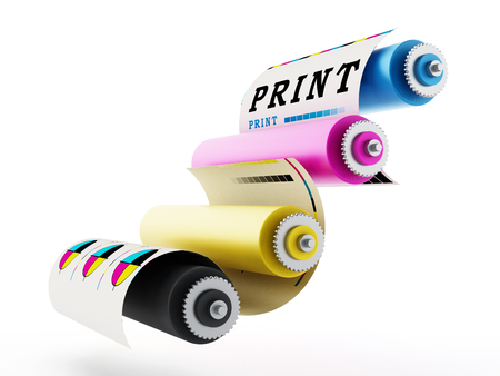CMYK Printing press with test print. 3D illustration. 스톡 콘텐츠
