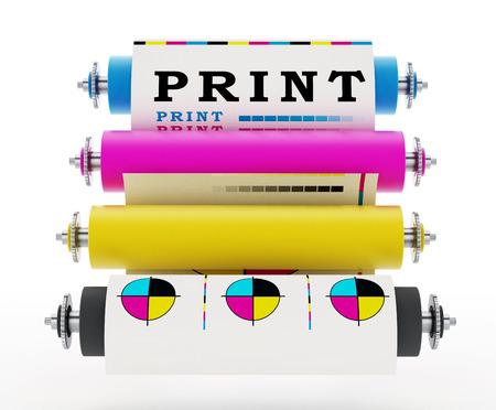 CMYK Druckmaschine mit Testdruck. 3D Abbildung.