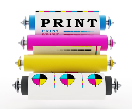 offset printing: CMYK Printing press with test print. 3D illustration. Stock Photo