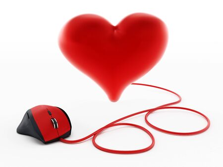 Red corded mouse connected to shiny heart. 3D illustration. Stock Photo