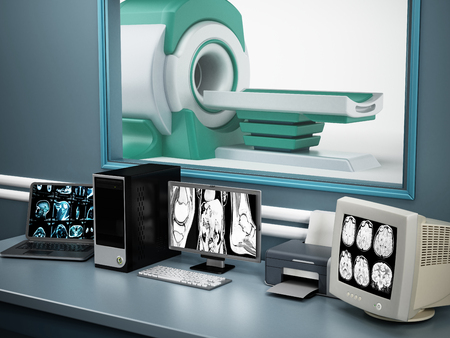 computer device: Magnetic Resonance Imaging MRI device and computer systems. Stock Photo