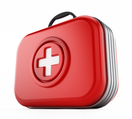 First aid kit isolated on white background. 3D illustration.