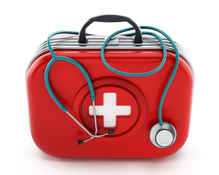 Stethoscope standing on first aid kit. 3D illustration. Stock Photo