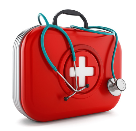 rejection: Stethoscope standing on first aid kit. 3D illustration. Stock Photo