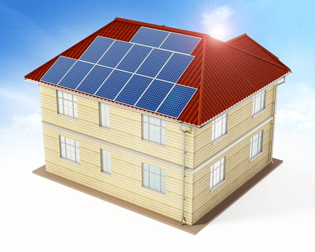 panels: Solar panels being installed on building rooftop. 3D illustration. Stock Photo