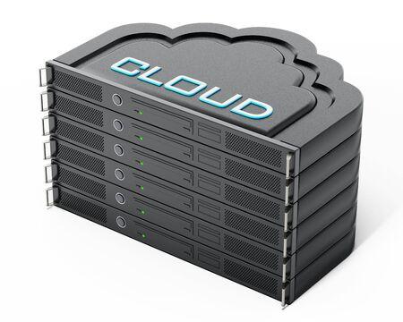 network server: Cloud shaped network server rack stack. 3D illustration. Stock Photo