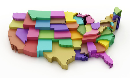 georgia: Multi colored USA map showing state borders. 3D illustration.