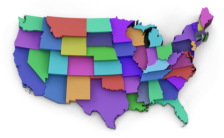 3d virginia: Multi colored USA map showing state borders. 3D illustration.