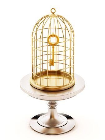 Golden key inside the closed birdcage. 3D illustration.