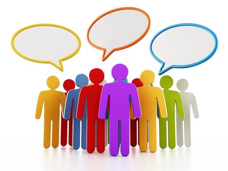 grupo de hombres: Multi figuras de color con globos de habla en su cabeza. Ilustración 3D.