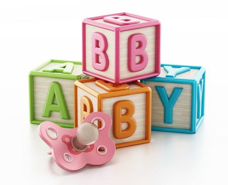 Kleurrijke speelgoedblokken vormen babywoord. 3D illustratie.
