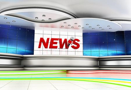 Modern news studio with large TV screens. 3D illustration. Archivio Fotografico