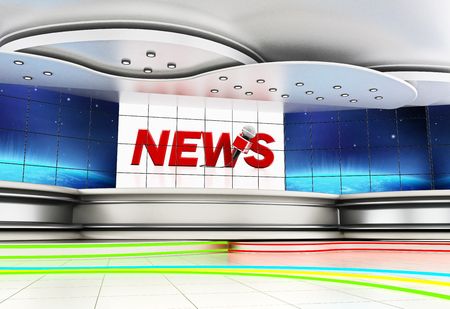 Modern news studio with large TV screens. 3D illustration. Stock Photo