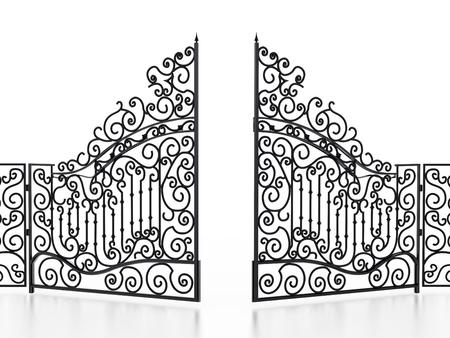 Smeedijzeren poort geïsoleerd op een witte achtergrond. 3D illustratie.
