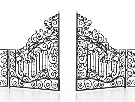 Wrought iron gate isolated on white background. 3D illustration.
