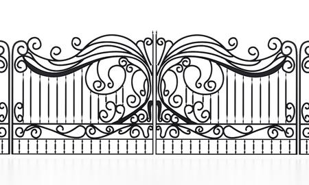 Schmiedeeisen Tor isoliert auf weißem Hintergrund. 3D Abbildung.