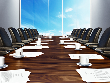 Boardroom table with black leather chairs. 3D illustration.