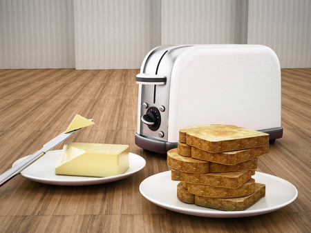 Butter and knife beside toaster and grilled bread. 3D illustration.