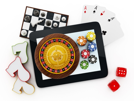 graphic display cards: Tablet computer, playing cards, roulette,chips, dice isolated on white background Stock Photo