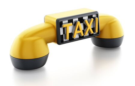Yellow phone receiver with taxi sign on checkers pattern isolated on white background.
