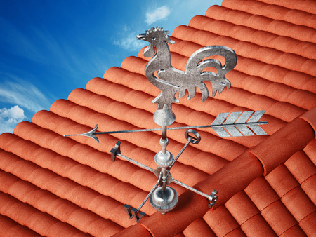 Wind signal on the roof. 3D illustration. Stock Photo