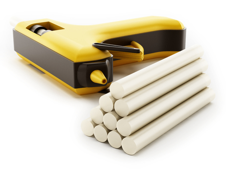 cohere: Glue gun isolated on white background. 3D illustration. Stock Photo