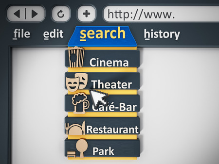 internet search: Search tab of an internet browser. 3D illustration. Stock Photo