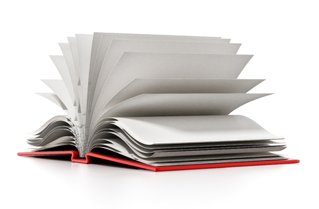 book pages: Open book with blank white pages. 3D illustration.