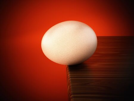 Egg standing at the edge of the table. 3D illustration.