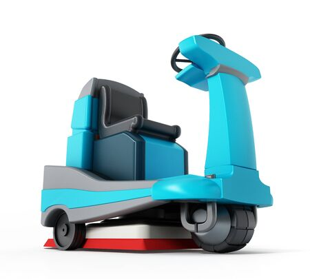 Floor cleaning machine isolated on white background. 3D illustration.