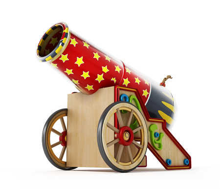 Circus cannon isolated on white background. 3D illustration.