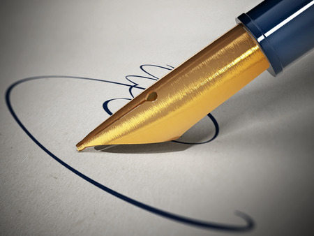signing papers: Fictitious sign and pen on paper. 3D illustration.