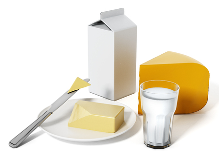 Milk, cheese and butter isolated on white background. Фото со стока