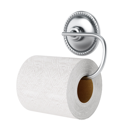 Toilet paper and chrome hanger isolated on white background. 3D illustration.