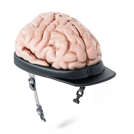 Human brain on security cap. 3D illustration. Stock Photo