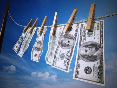 ide: Money laundring concept with dollars hanging on the rope. 3D rendered illustration