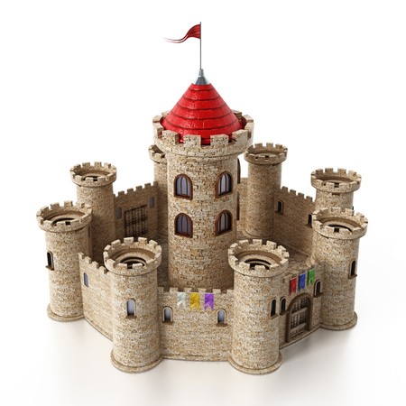 幻想的な中世の城は、白い背景で隔離。 写真素材