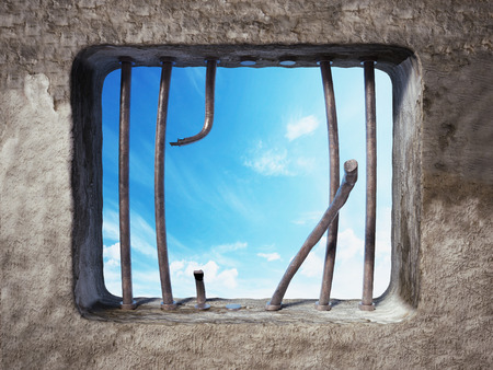 Prison cell with broken prison bars on the window. 3D illustration. Stockfoto