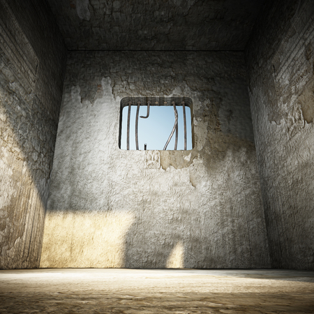 jail: Prison cell with broken prison bars on the window. 3D illustration. Stock Photo