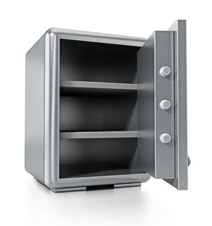 Caja fuerte de acero con la puerta abierta aislada en el fondo blanco. Ilustración 3D. Foto de archivo - 80205387