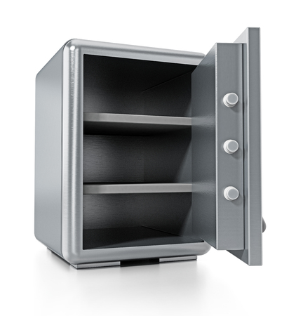 Steel safe with open door isolated on white background. 3D illustration.