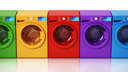 Multi colored washing machines isolated on white background. 3D illustration.