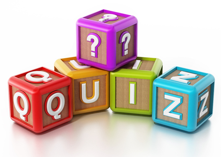 Quiz cubes isolated on white background. 3D illustration.