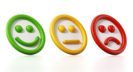 Green, yellow and red faces showing satisfaction levels. 3D illustration. Stock Photo