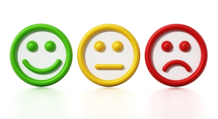 Green, yellow and red faces showing satisfaction levels. 3D illustration. Foto de archivo