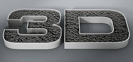 mesh: Printed mesh 3D text on gray background. 3D illustration. Stock Photo