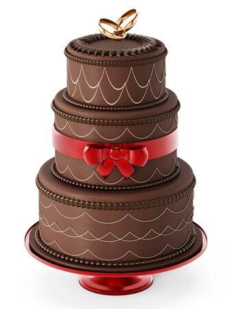 wedding reception decoration: Chocolate wedding cake isolated on white background. 3D illustration